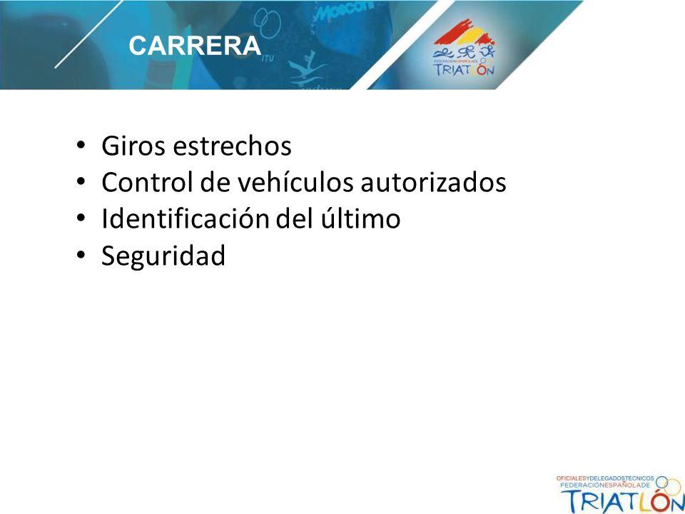 Giros estrechos Control de vehículos autorizados Identificación del último Seguridad CARRERA