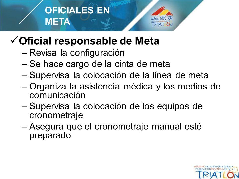 Oficial responsable de Meta –Revisa la configuración –Se hace cargo de la cinta de meta –Supervisa la colocación de la línea de meta –Organiza la asis