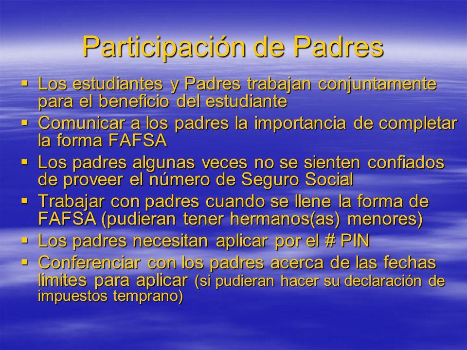 Participación de Padres Los estudiantes y Padres trabajan conjuntamente para el beneficio del estudiante Los estudiantes y Padres trabajan conjuntamen