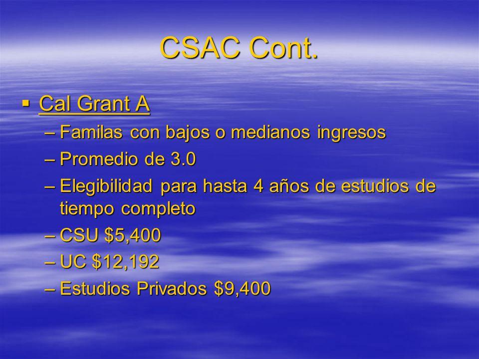 CSAC Cont. Cal Grant A Cal Grant A –Familas con bajos o medianos ingresos –Promedio de 3.0 –Elegibilidad para hasta 4 años de estudios de tiempo compl