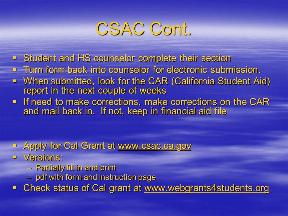CSAC Cont.