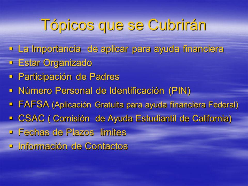 Tópicos que se Cubrirán La Importancia de aplicar para ayuda financiera Estar Organizado Participación de Padres Número Personal de Identificación (PI