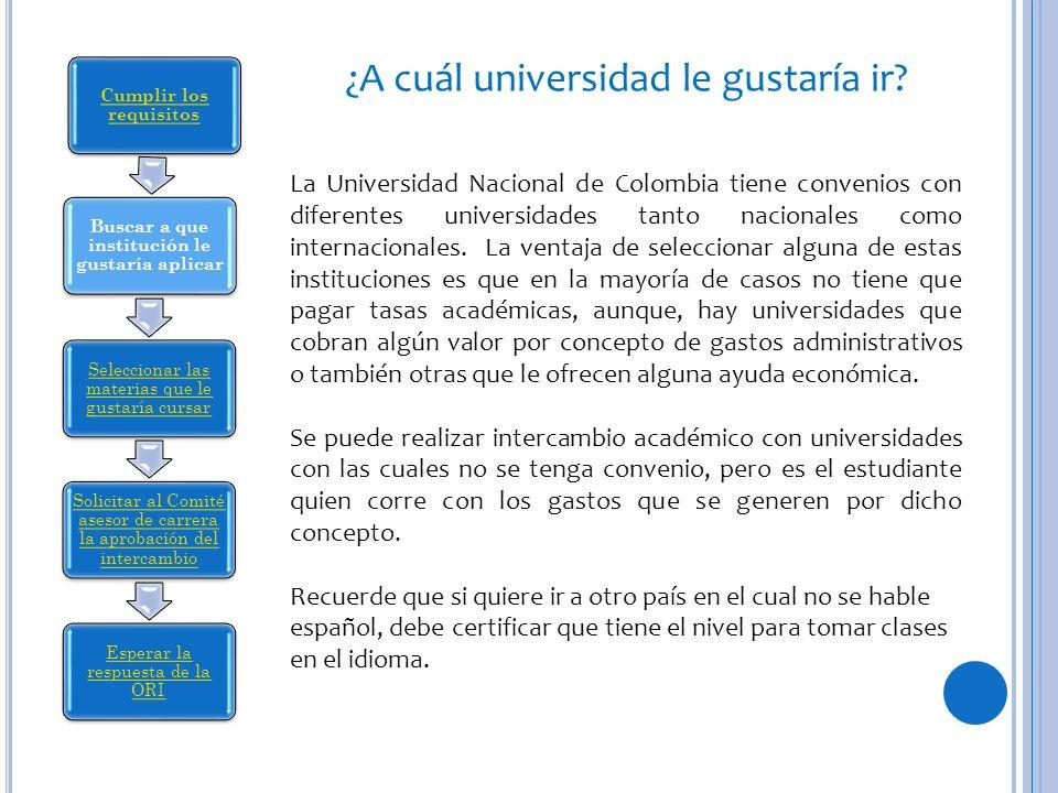 ¿A cuál universidad le gustaría ir? La Universidad Nacional de Colombia tiene convenios con diferentes universidades tanto nacionales como internacion