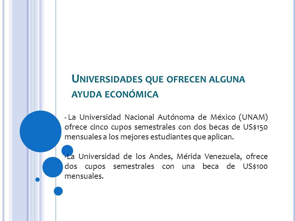 U NIVERSIDADES QUE OFRECEN ALGUNA AYUDA ECONÓMICA - La Universidad Nacional Autónoma de México (UNAM) ofrece cinco cupos semestrales con dos becas de US$150 mensuales a los mejores estudiantes que aplican.