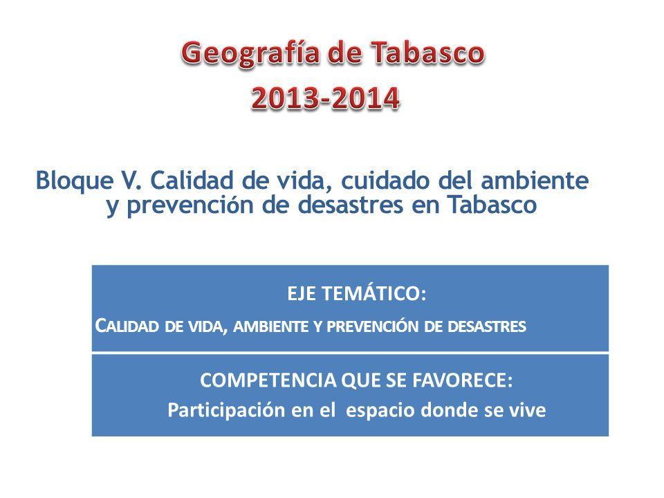 Bloque V. Calidad de vida, cuidado del ambiente y prevenci ó n de desastres en Tabasco EJE TEMÁTICO: C ALIDAD DE VIDA, AMBIENTE Y PREVENCIÓN DE DESAST