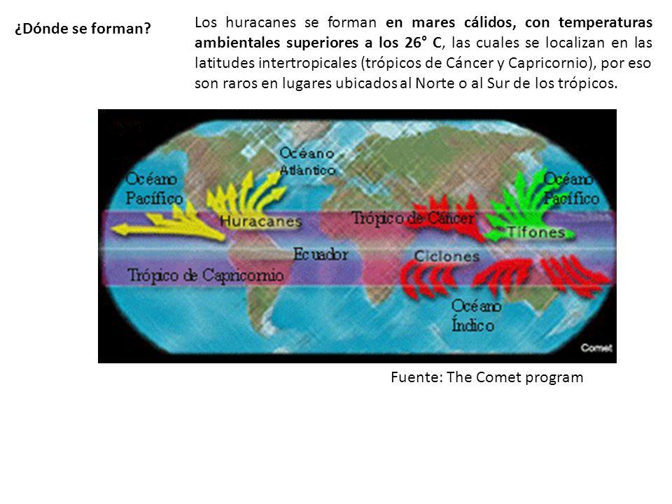 ¿Dónde se forman? Los huracanes se forman en mares cálidos, con temperaturas ambientales superiores a los 26° C, las cuales se localizan en las latitu