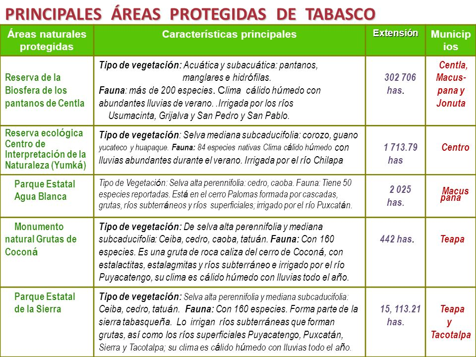 Áreas naturales protegidas Características principalesExtensión Municip ios Reserva de la Biosfera de los pantanos de Centla Tipo de vegetaci ó n: Acu