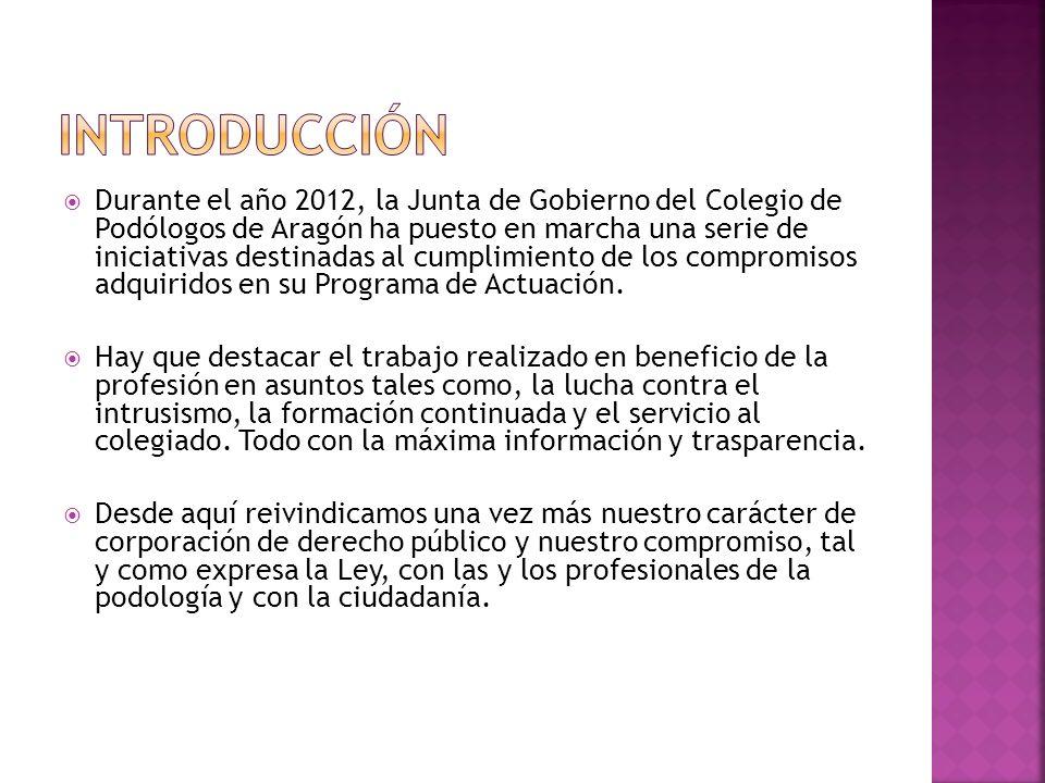 Durante el año 2012, la Junta de Gobierno del Colegio de Podólogos de Aragón ha puesto en marcha una serie de iniciativas destinadas al cumplimiento de los compromisos adquiridos en su Programa de Actuación.