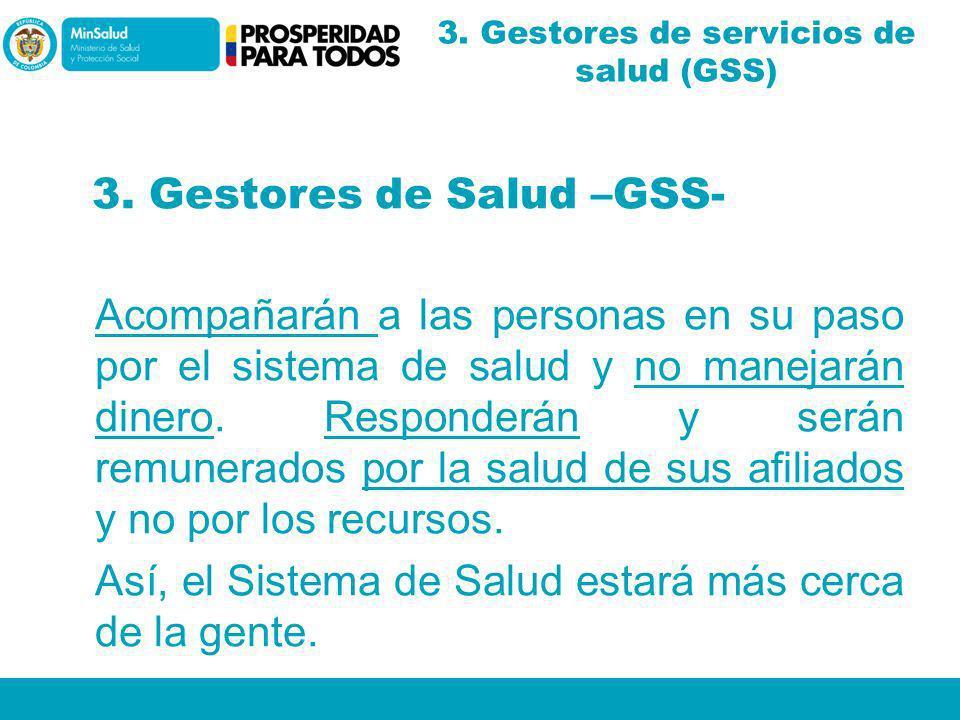 3. Gestores de Salud –GSS- Acompañarán a las personas en su paso por el sistema de salud y no manejarán dinero. Responderán y serán remunerados por la