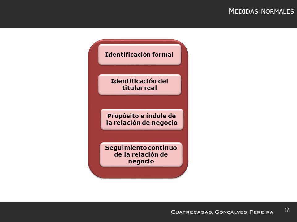17 M EDIDAS NORMALES Identificación formal Identificación del titular real Propósito e índole de la relación de negocio Seguimiento continuo de la relación de negocio
