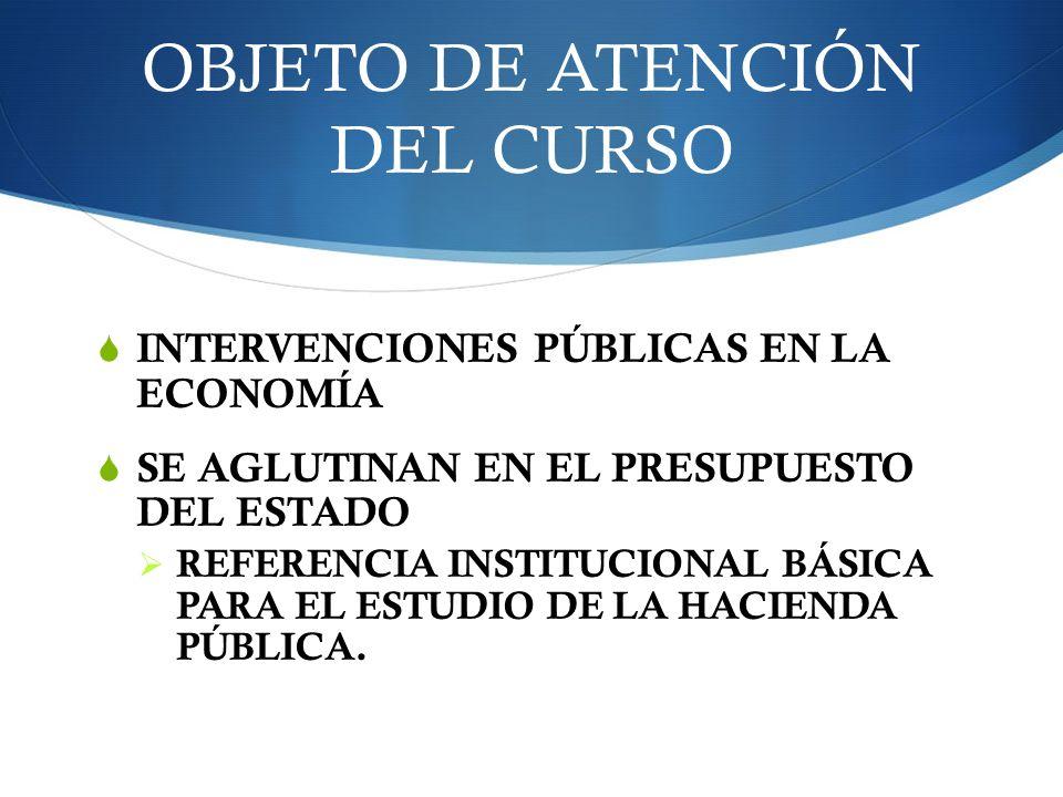 OBJETO DE ATENCIÓN DEL CURSO INTERVENCIONES PÚBLICAS EN LA ECONOMÍA SE AGLUTINAN EN EL PRESUPUESTO DEL ESTADO REFERENCIA INSTITUCIONAL BÁSICA PARA EL
