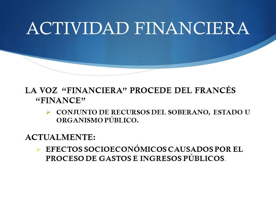 ACTIVIDAD FINANCIERA LA VOZ FINANCIERA PROCEDE DEL FRANCÉS FINANCE CONJUNTO DE RECURSOS DEL SOBERANO, ESTADO U ORGANISMO PÚBLICO. ACTUALMENTE: EFECTOS