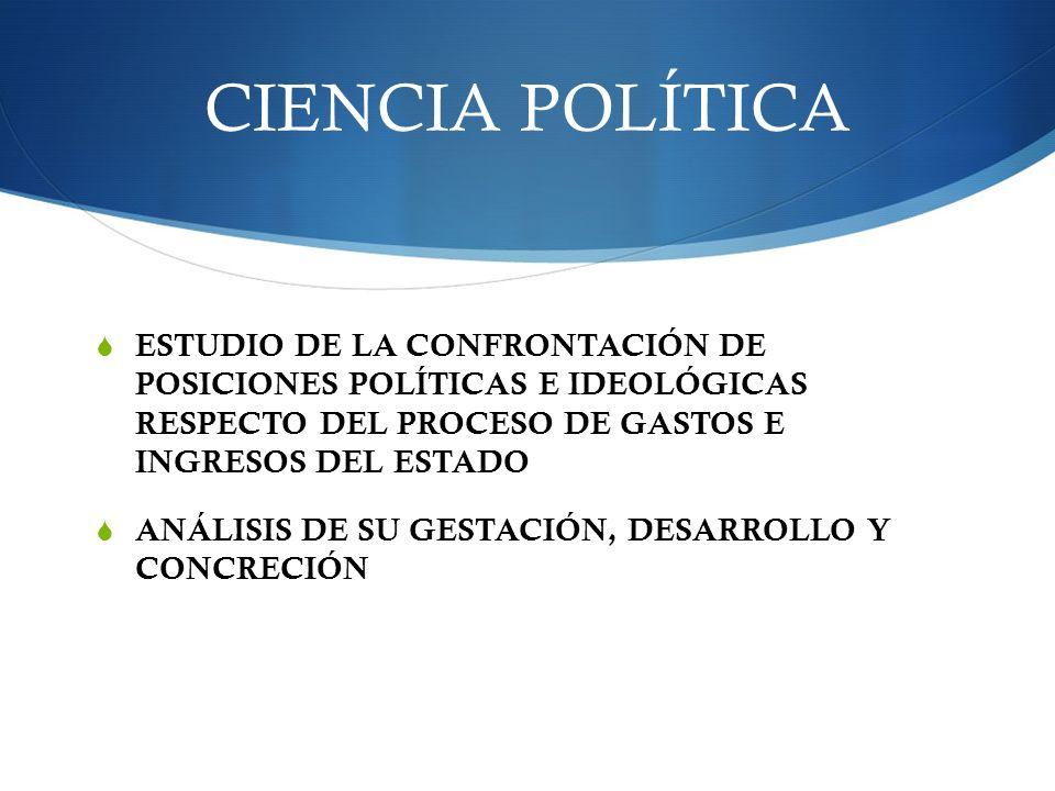 CIENCIA POLÍTICA ESTUDIO DE LA CONFRONTACIÓN DE POSICIONES POLÍTICAS E IDEOLÓGICAS RESPECTO DEL PROCESO DE GASTOS E INGRESOS DEL ESTADO ANÁLISIS DE SU