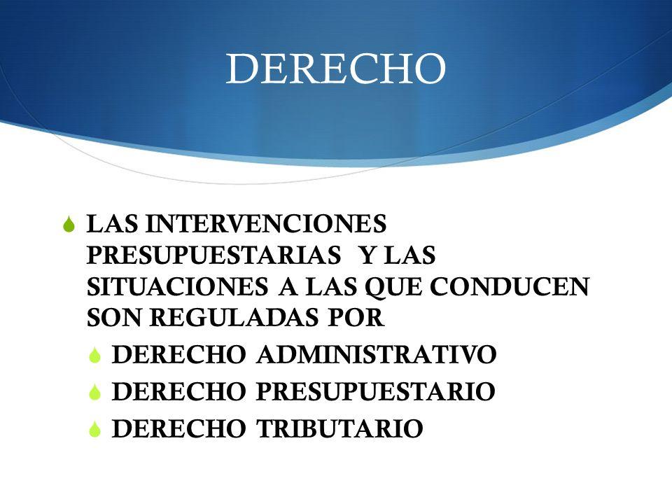 DERECHO LAS INTERVENCIONES PRESUPUESTARIAS Y LAS SITUACIONES A LAS QUE CONDUCEN SON REGULADAS POR DERECHO ADMINISTRATIVO DERECHO PRESUPUESTARIO DERECH