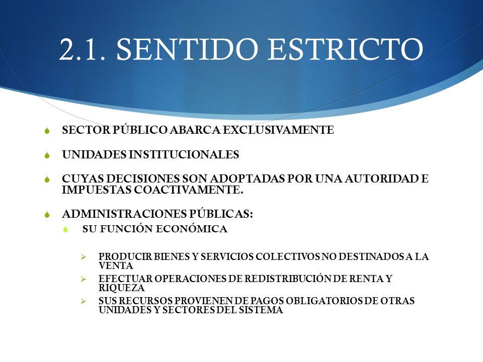 2.1. SENTIDO ESTRICTO SECTOR PÚBLICO ABARCA EXCLUSIVAMENTE UNIDADES INSTITUCIONALES CUYAS DECISIONES SON ADOPTADAS POR UNA AUTORIDAD E IMPUESTAS COACT
