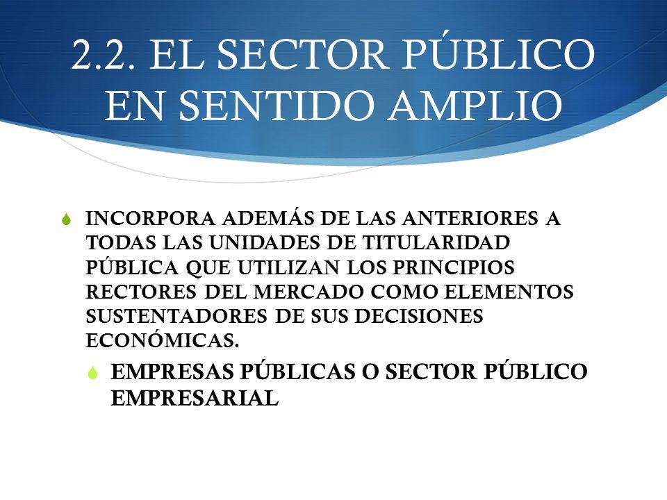 2.2. EL SECTOR PÚBLICO EN SENTIDO AMPLIO INCORPORA ADEMÁS DE LAS ANTERIORES A TODAS LAS UNIDADES DE TITULARIDAD PÚBLICA QUE UTILIZAN LOS PRINCIPIOS RE
