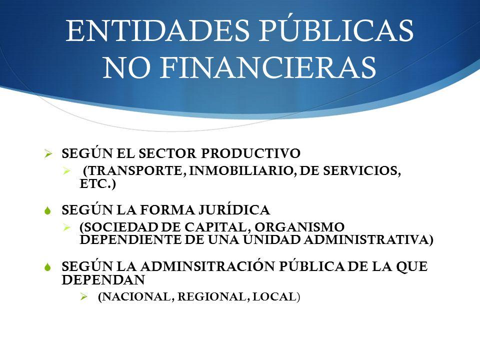 ENTIDADES PÚBLICAS NO FINANCIERAS SEGÚN EL SECTOR PRODUCTIVO (TRANSPORTE, INMOBILIARIO, DE SERVICIOS, ETC.) SEGÚN LA FORMA JURÍDICA (SOCIEDAD DE CAPIT