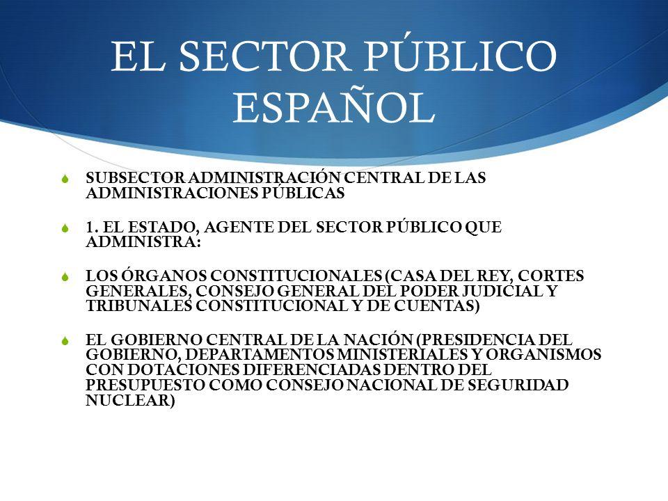 EL SECTOR PÚBLICO ESPAÑOL SUBSECTOR ADMINISTRACIÓN CENTRAL DE LAS ADMINISTRACIONES PÚBLICAS 1. EL ESTADO, AGENTE DEL SECTOR PÚBLICO QUE ADMINISTRA: LO