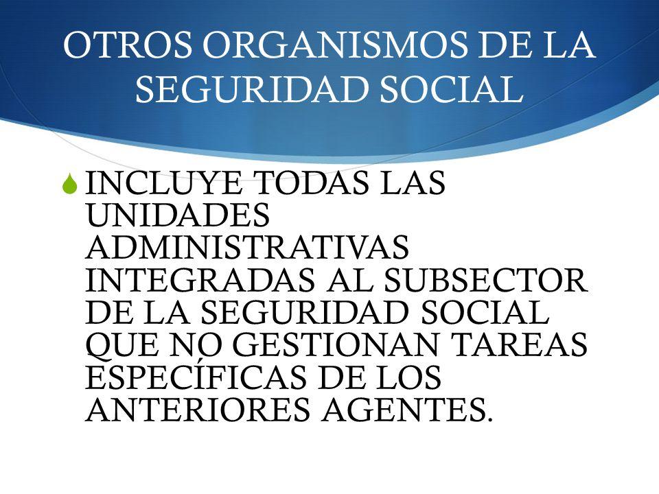 OTROS ORGANISMOS DE LA SEGURIDAD SOCIAL INCLUYE TODAS LAS UNIDADES ADMINISTRATIVAS INTEGRADAS AL SUBSECTOR DE LA SEGURIDAD SOCIAL QUE NO GESTIONAN TAR