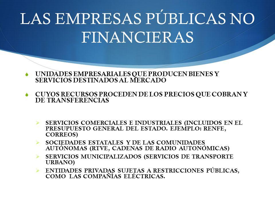 LAS EMPRESAS PÚBLICAS NO FINANCIERAS UNIDADES EMPRESARIALES QUE PRODUCEN BIENES Y SERVICIOS DESTINADOS AL MERCADO CUYOS RECURSOS PROCEDEN DE LOS PRECI