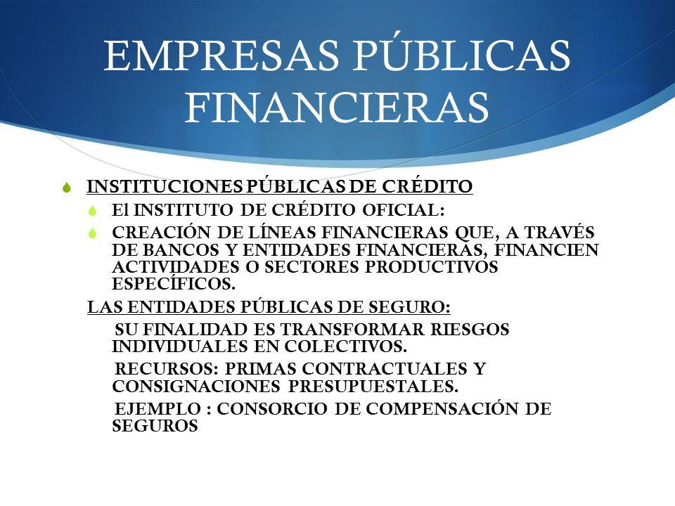 EMPRESAS PÚBLICAS FINANCIERAS INSTITUCIONES PÚBLICAS DE CRÉDITO El INSTITUTO DE CRÉDITO OFICIAL: CREACIÓN DE LÍNEAS FINANCIERAS QUE, A TRAVÉS DE BANCO