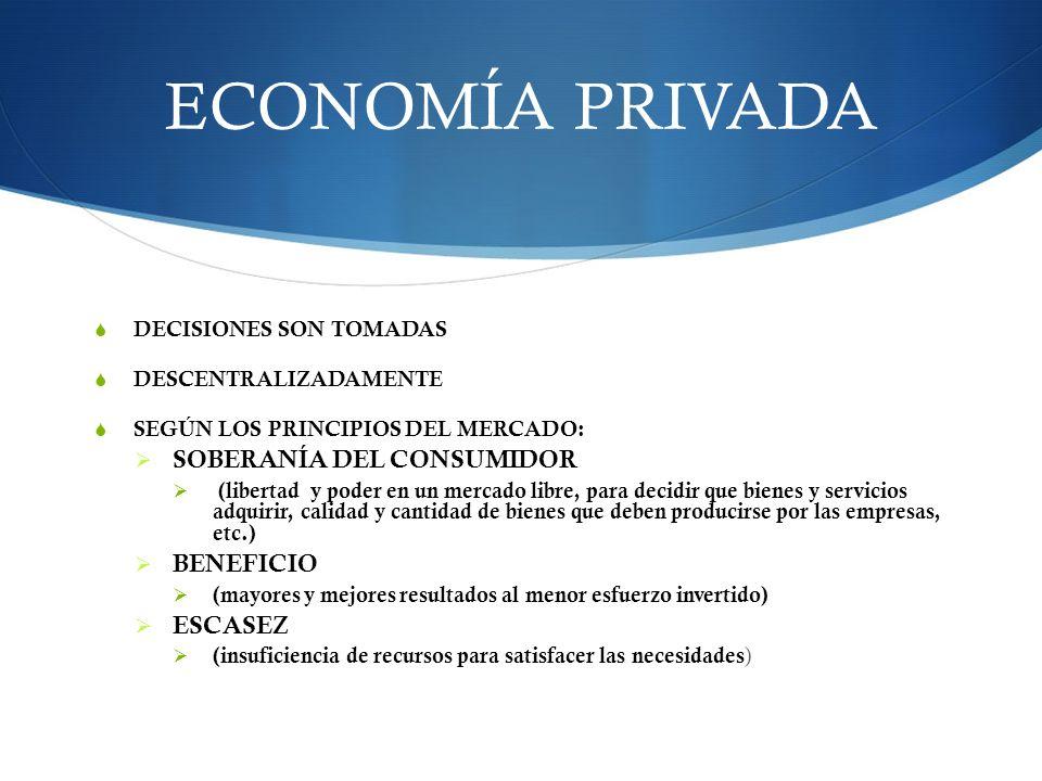 ECONOMÍA PRIVADA DECISIONES SON TOMADAS DESCENTRALIZADAMENTE SEGÚN LOS PRINCIPIOS DEL MERCADO: SOBERANÍA DEL CONSUMIDOR (libertad y poder en un mercad