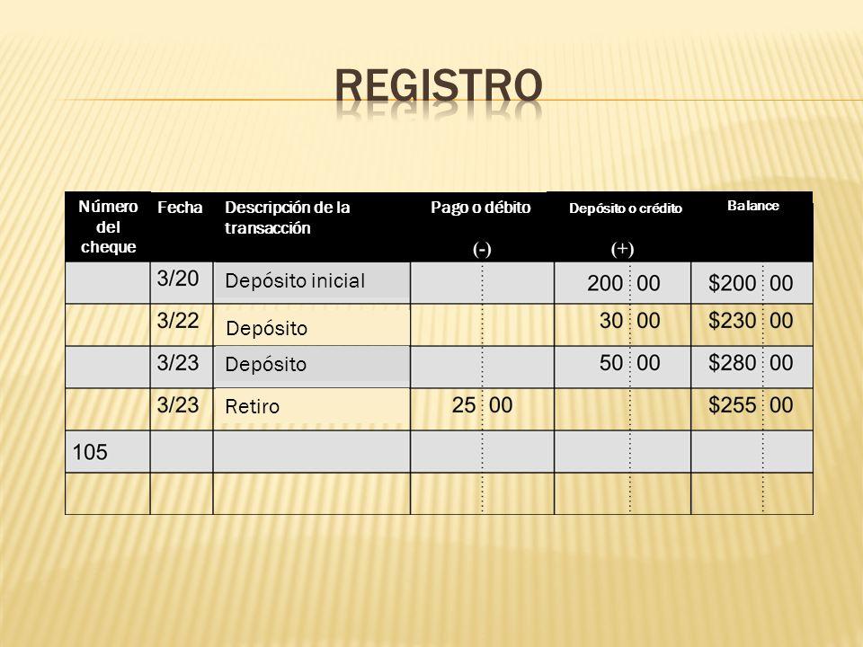 Número del cheque FechaDescripción de la transacción Pago o débito Depósito o crédito Balance Depósito o crédito Depósito inicial Depósito Retiro