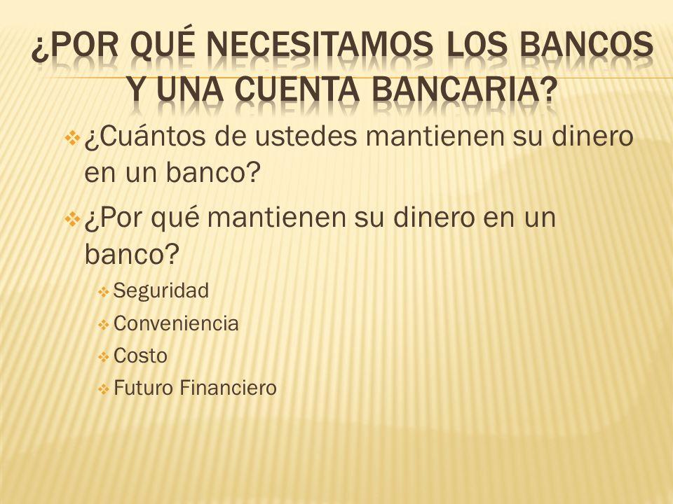 ¿Cuántos de ustedes mantienen su dinero en un banco? ¿Por qué mantienen su dinero en un banco? Seguridad Conveniencia Costo Futuro Financiero