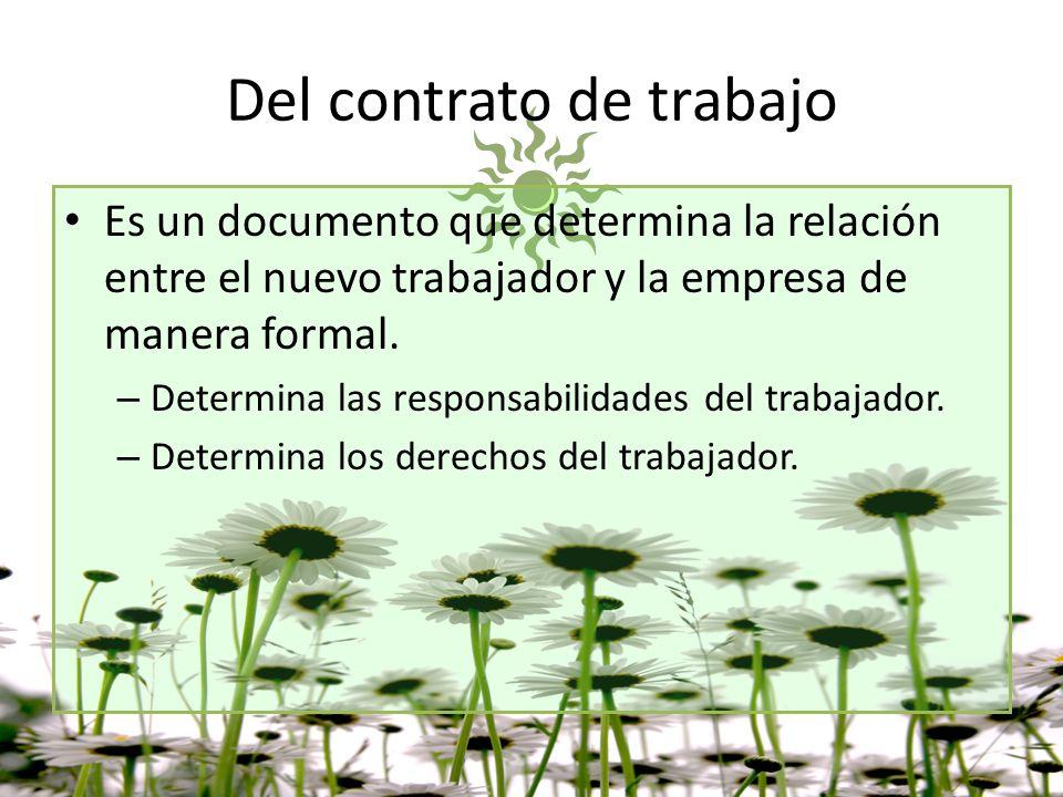 Del contrato de trabajo Es un documento que determina la relación entre el nuevo trabajador y la empresa de manera formal. – Determina las responsabil