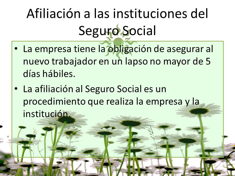 Afiliación a las instituciones del Seguro Social La empresa tiene la obligación de asegurar al nuevo trabajador en un lapso no mayor de 5 días hábiles