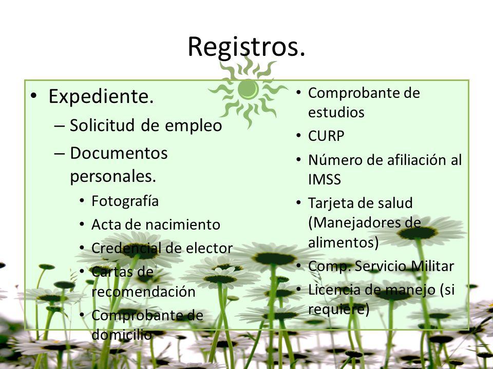 Registros – Documentos del proceso de Selección.