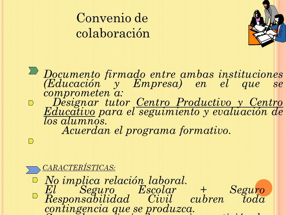 Documento firmado entre ambas instituciones (Educación y Empresa) en el que se comprometen a: Designar tutor Centro Productivo y Centro Educativo para el seguimiento y evaluación de los alumnos.