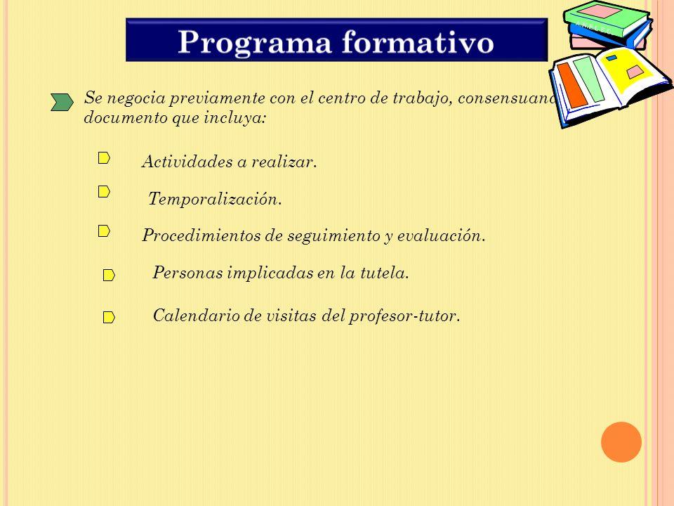 Se negocia previamente con el centro de trabajo, consensuando un documento que incluya: Actividades a realizar.