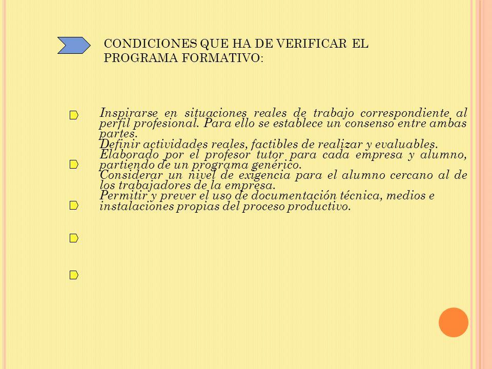 CONDICIONES QUE HA DE VERIFICAR EL PROGRAMA FORMATIVO: Inspirarse en situaciones reales de trabajo correspondiente al perfil profesional. Para ello se