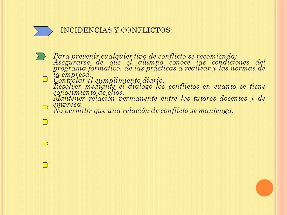 INCIDENCIAS Y CONFLICTOS: Para prevenir cualquier tipo de conflicto se recomienda: Asegurarse de que el alumno conoce las condiciones del programa formativo, de las prácticas a realizar y las normas de la empresa.