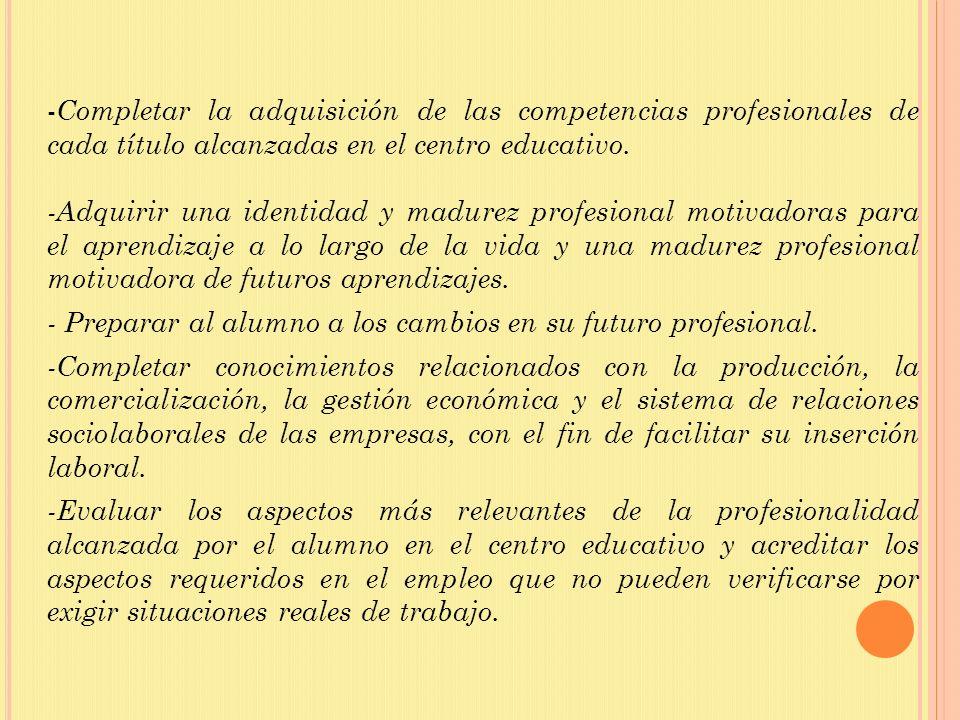 - Completar la adquisición de las competencias profesionales de cada título alcanzadas en el centro educativo. -Adquirir una identidad y madurez profe