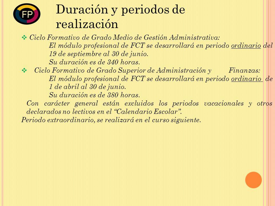 Ciclo Formativo de Grado Medio de Gestión Administrativa: El módulo profesional de FCT se desarrollará en periodo ordinario del 19 de septiembre al 30 de junio.