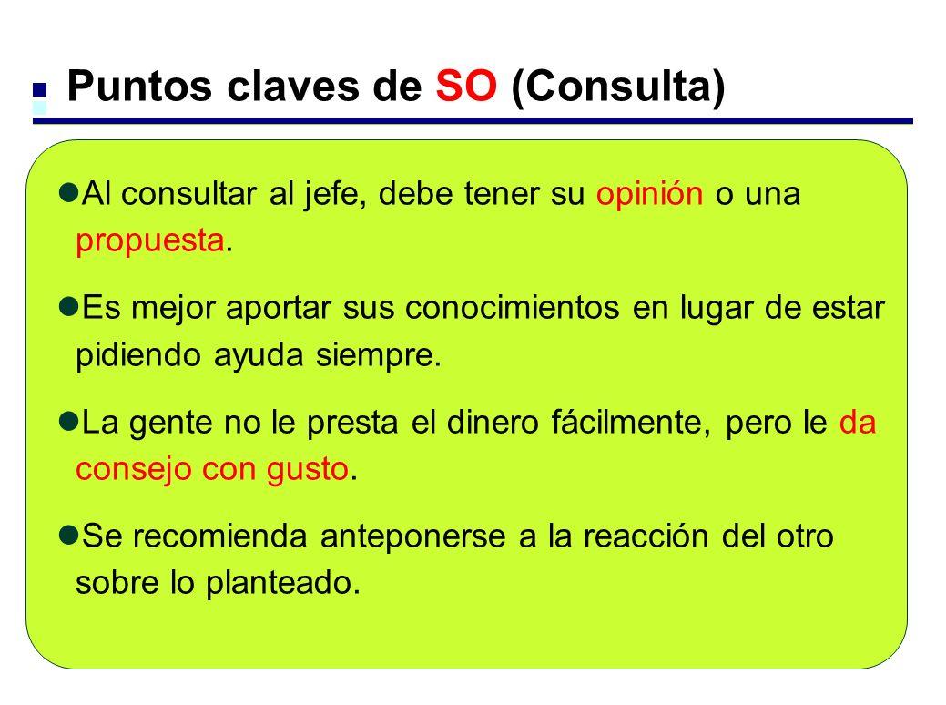 Puntos claves de SO (Consulta) Al consultar al jefe, debe tener su opinión o una propuesta. Es mejor aportar sus conocimientos en lugar de estar pidie
