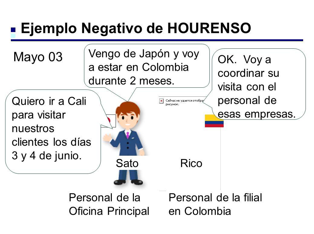 Ejemplo Negativo de HOURENSO Quiero ir a Cali para visitar nuestros clientes los días 3 y 4 de junio.