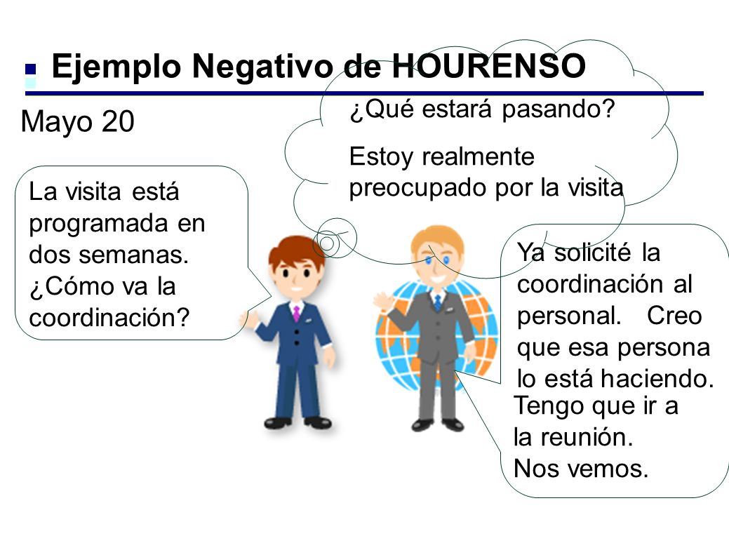 Ejemplo Negativo de HOURENSO La visita está programada en dos semanas.