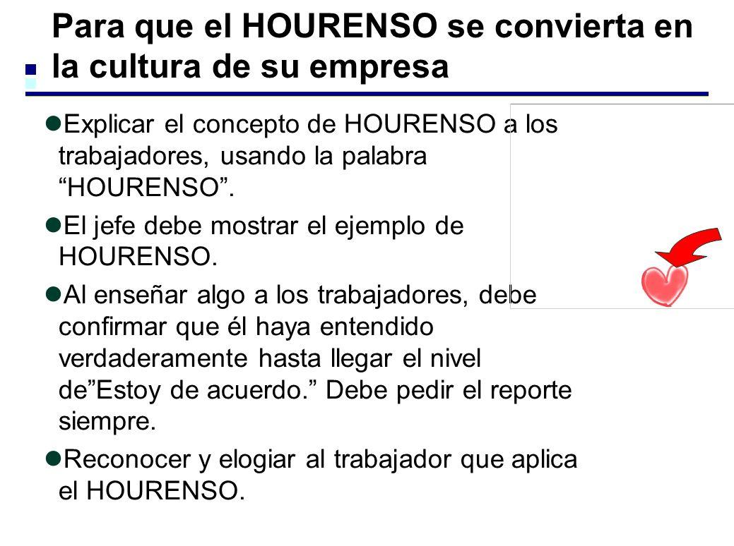 Para que el HOURENSO se convierta en la cultura de su empresa Explicar el concepto de HOURENSO a los trabajadores, usando la palabra HOURENSO.