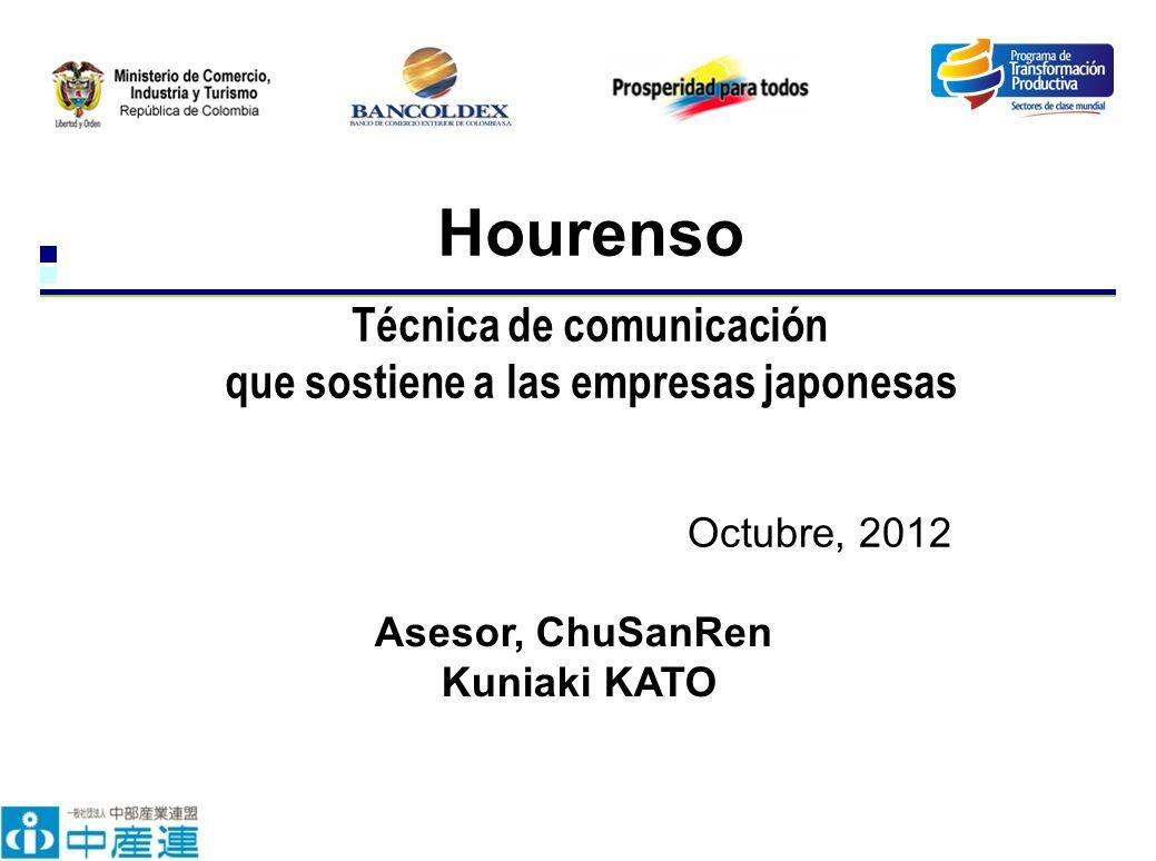 Octubre, 2012 Hourenso Técnica de comunicación que sostiene a las empresas japonesas Asesor, ChuSanRen Kuniaki KATO