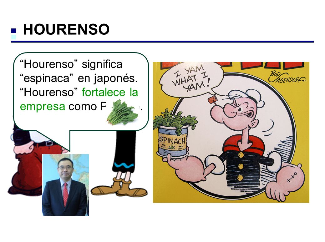 HOURENSO Hourenso significa espinaca en japonés. Hourenso fortalece la empresa como Popeye.