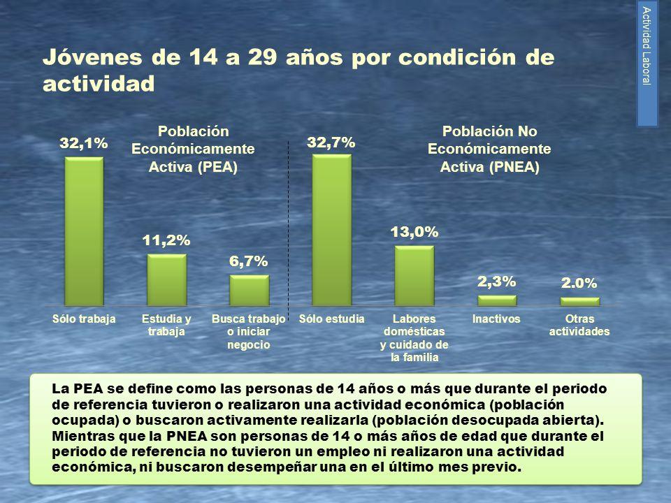 14 Jóvenes de 14 a 29 años por condición de actividad La PEA se define como las personas de 14 años o más que durante el periodo de referencia tuviero