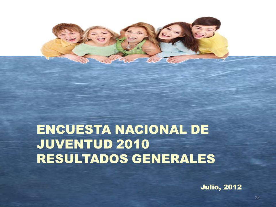 25 ENCUESTA NACIONAL DE JUVENTUD 2010 RESULTADOS GENERALES Julio, 2012
