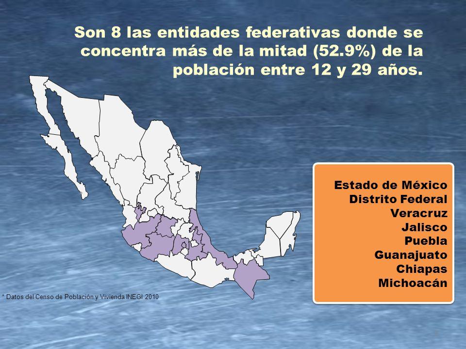 INEGI 2010 4 12 a 14 15 a 19 20 a 24 25 a 29 3.3 (50.6%) 3.2 (49.4%) 5.5 (50.1%) 5.5 (49.9%) 4.8 (48.7%) 5.1 (51.3%) 4.2 (47.9%) 4.6 (52.1%) 6.5 11.0 9.9 8.8 Grupo de edad (años) Total CONTEXTO DEMOGRÁFICO DE JUVENTUD Jóvenes entre 12 y 29 por grupo de edad en el estado de Guanajuato (Cifras en millones )