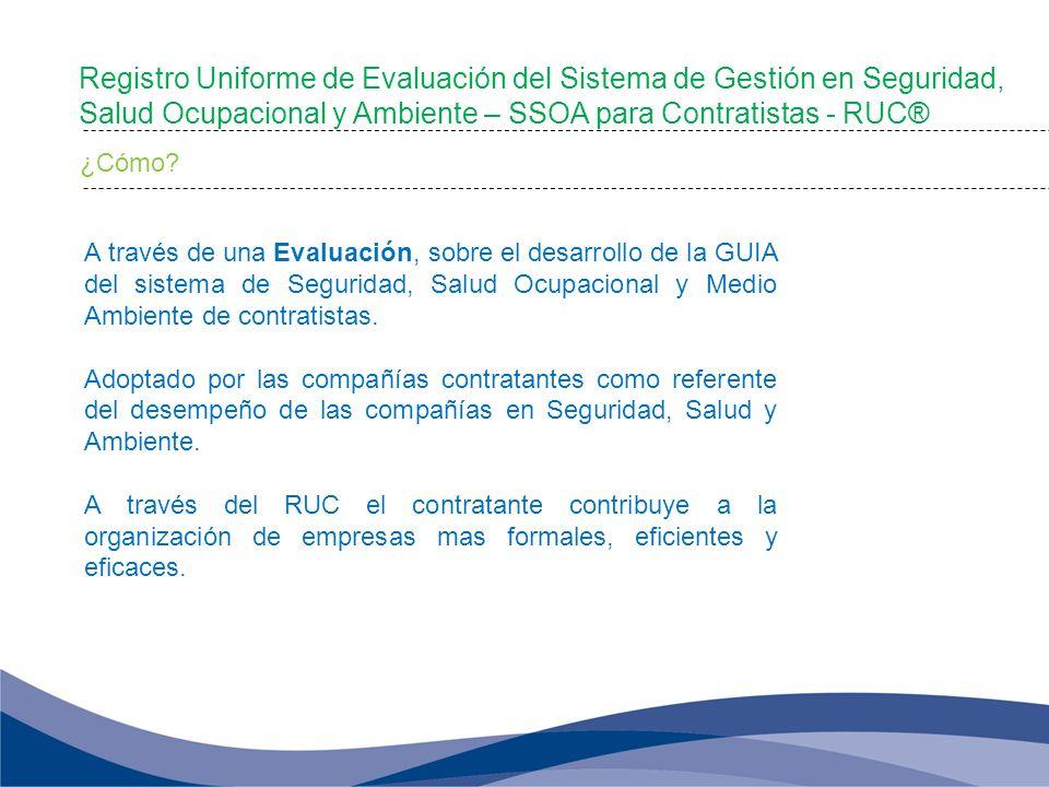 A través de una Evaluación, sobre el desarrollo de la GUIA del sistema de Seguridad, Salud Ocupacional y Medio Ambiente de contratistas. Adoptado por