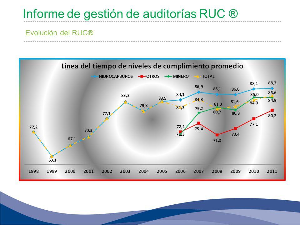 Informe de gestión de auditorías RUC ® Evolución del RUC®