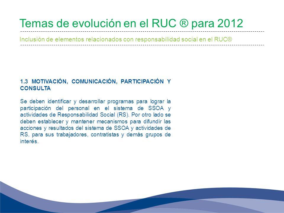 Inclusión de elementos relacionados con responsabilidad social en el RUC® 1.3 MOTIVACIÓN, COMUNICACIÓN, PARTICIPACIÓN Y CONSULTA Se deben identificar