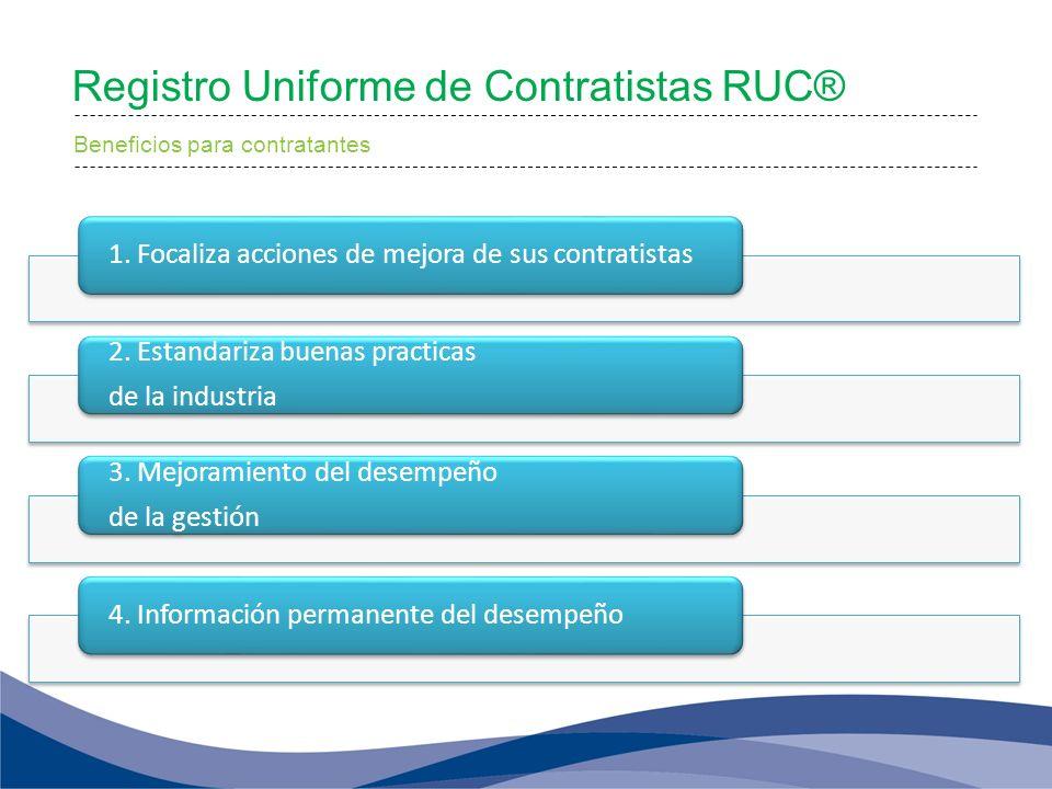 Registro Uniforme de Contratistas RUC® Beneficios para contratantes 1. Focaliza acciones de mejora de sus contratistas 2. Estandariza buenas practicas